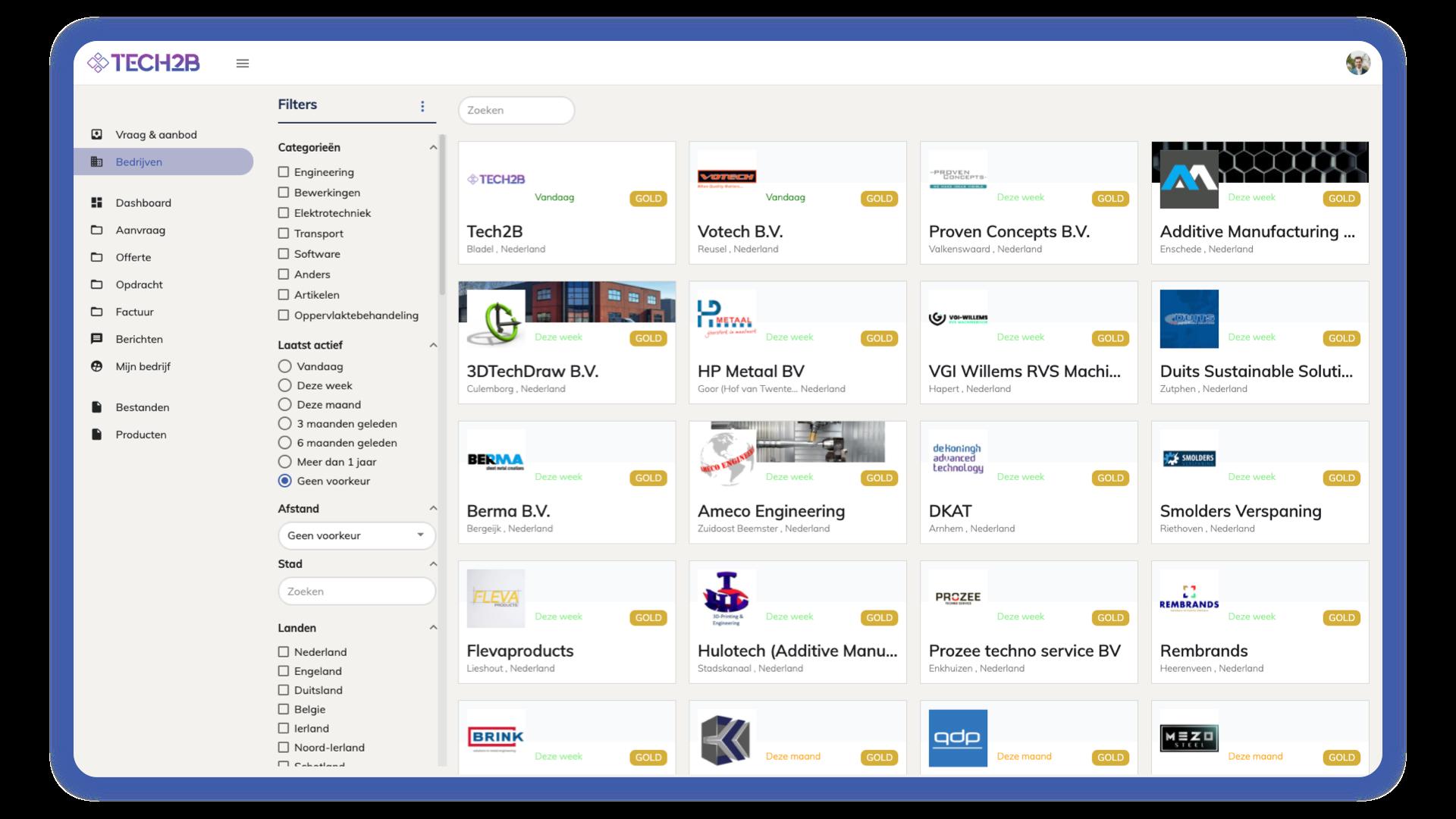 Tech2B - Bedrijvenpagina - Netwerk uitbreiden - Platform